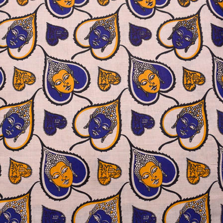 Beige-Blue and Yellow Buddha Kalamkari Cotton Fabric-5569