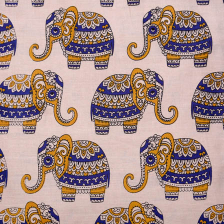 Beige-Blue and Yellow Elephan Kalamkari Cotton Fabric-5605