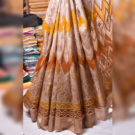 Beige Brown Gota Position Georgette Embroidery Fabric-19134