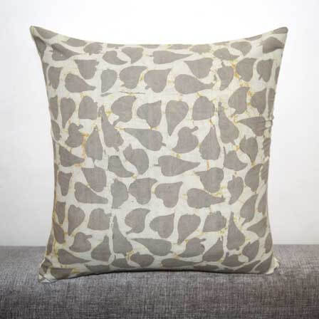 Beige Color Kashish Hand Block Print Cotton Cushion Cover