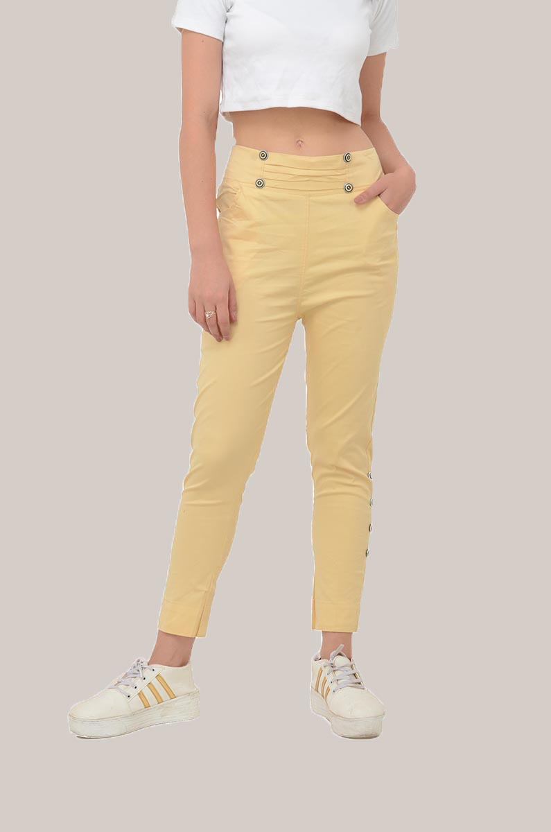 Beige Cotton Lycra Roll Up Pant-33494
