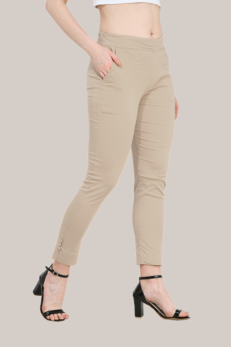 Beige Cotton Lycra Trippy Pant-33503
