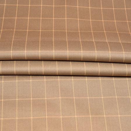 Beige Cream Checks Wool Fabric-90178