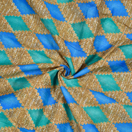 Beige Cyan Ikat Banglori Silk Print Fabric-12816