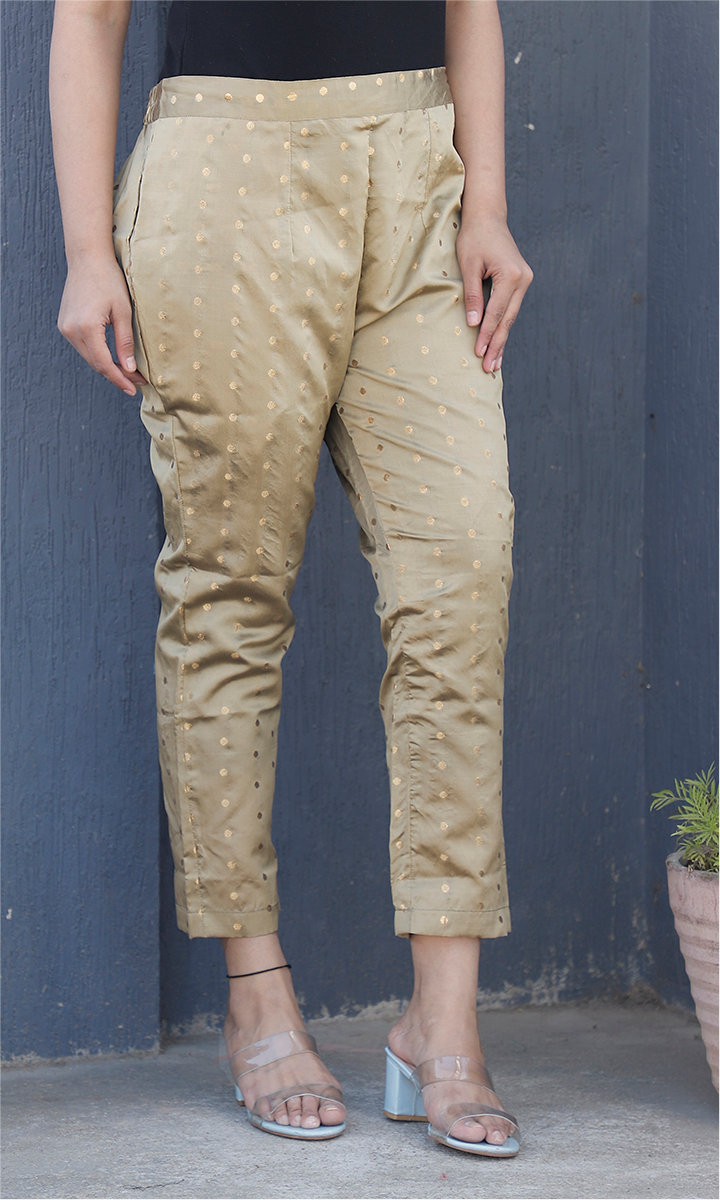 Beige Golden Brocade Silk Ankle Women Pant-34454