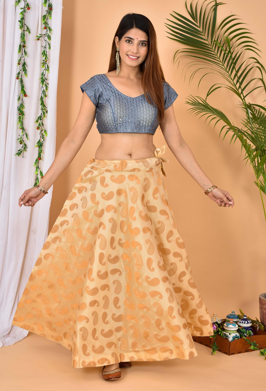 Beige Golden Brocade Silk Wedding Lehenga-36966