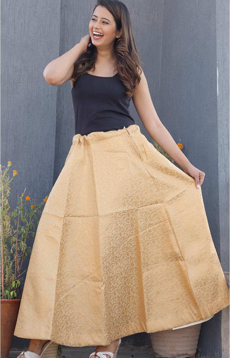Beige Golden Brocade silk Lehenga-34218-(Free Size)