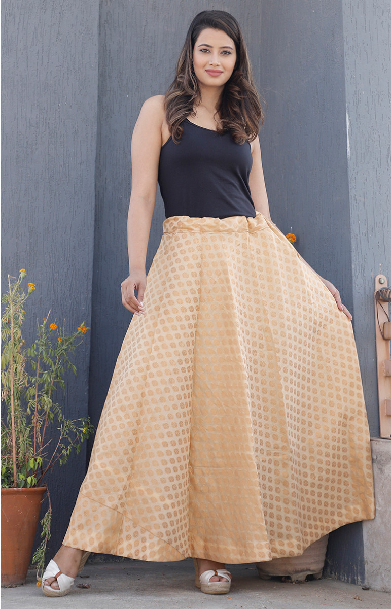 Beige Golden Brocade silk Lehenga-34219-(Free Size)