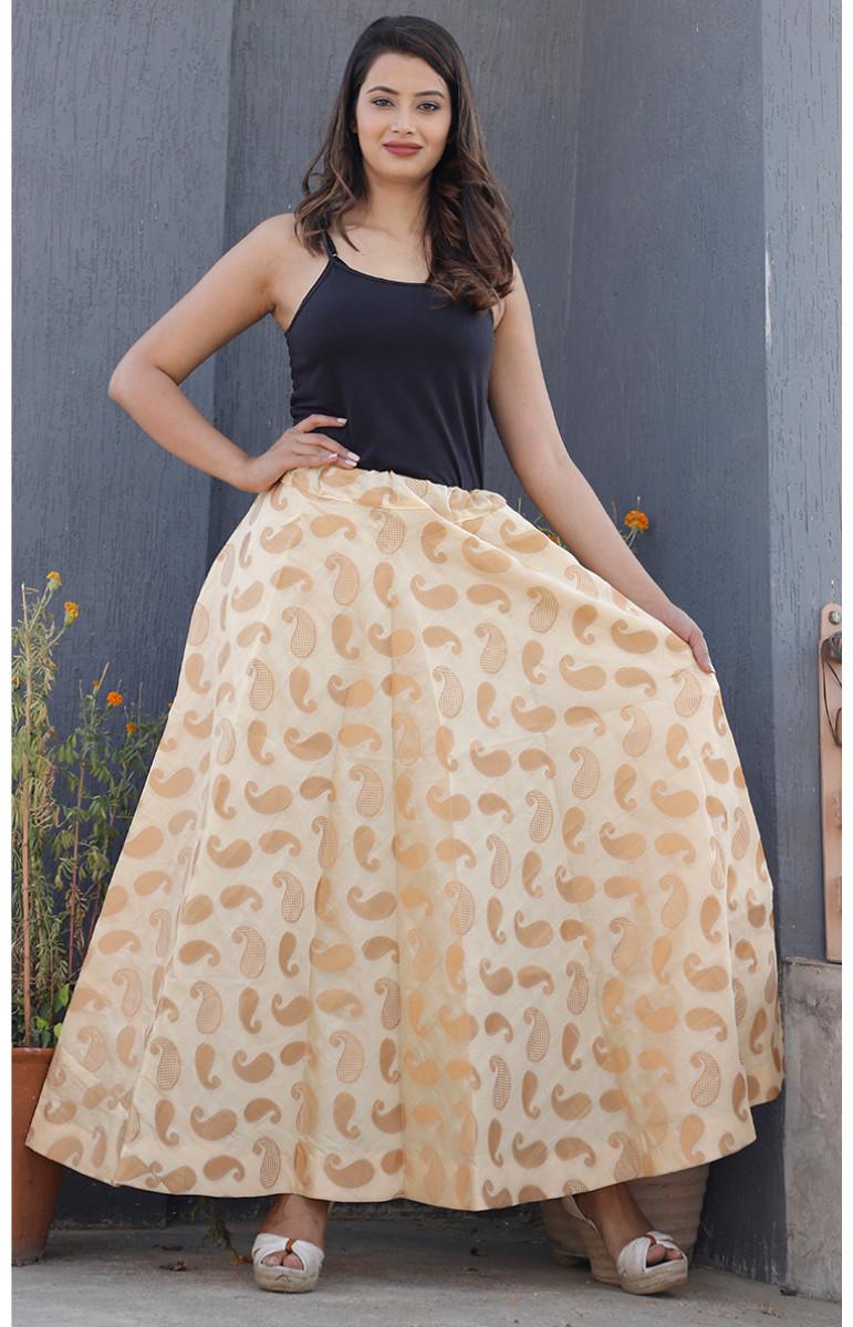 Beige Golden Brocade silk Lehenga-34221-(Free Size)