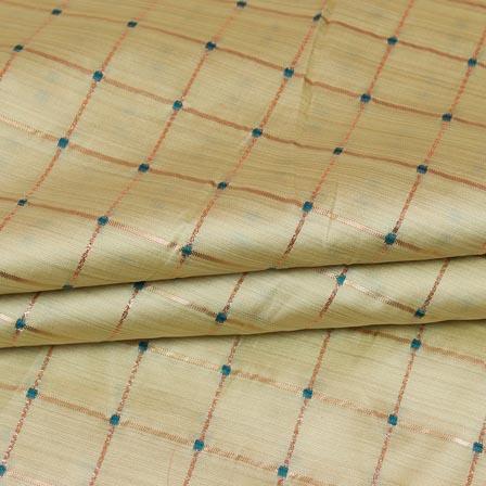 Beige Golden Checks Zari Brocade Silk Fabric-9291