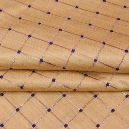 Beige Golden Checks Zari Brocade Silk Fabric-9295