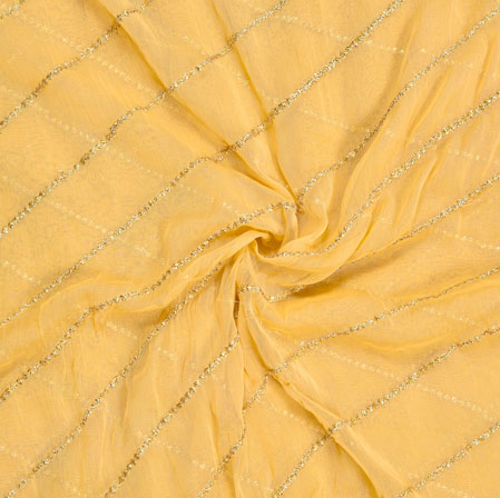 Beige Golden Embroidery Silk Chiffon Fabric-18633