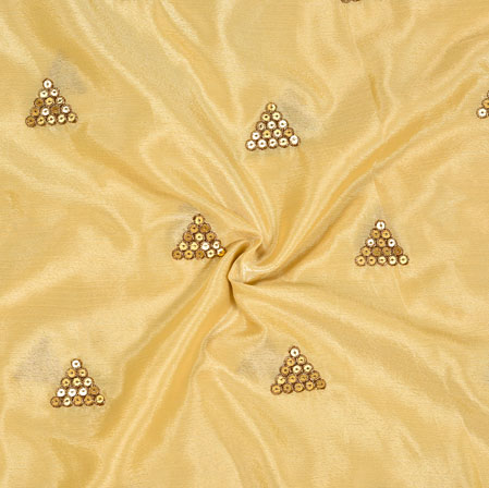 Beige Golden Embroidery Silk Chinon Fabric-18561