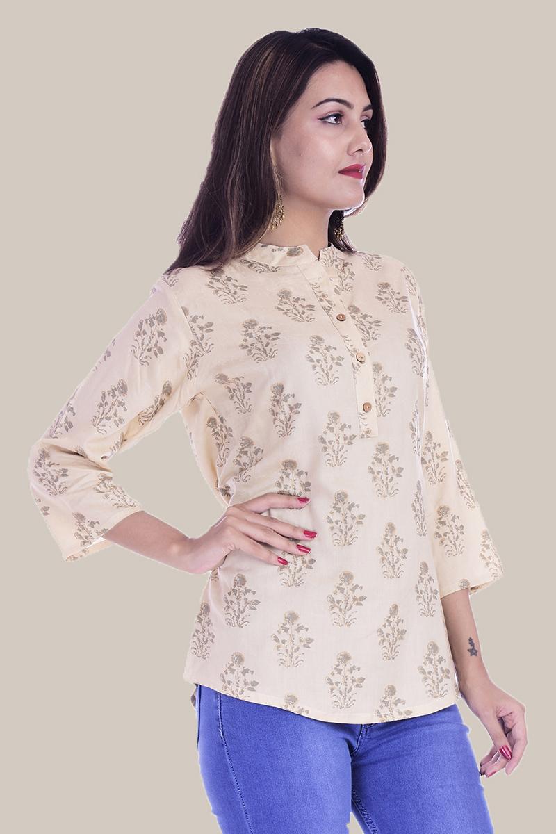 Beige Golden Floral 3/4 Sleeve Cotton Women Top-33998