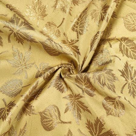 Beige Golden Floral Brocade Silk Fabric-12133