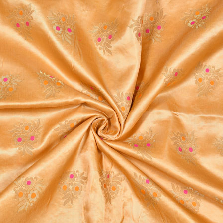 Beige Golden Floral Satin Brocade Silk Fabric-12810