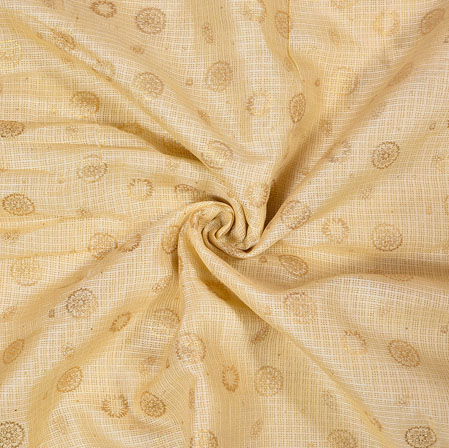 Beige Golden Flower Foil Work Kota Doria Fabric-42584