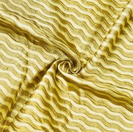 Beige Golden Leheria Brocade Silk Fabric-12518