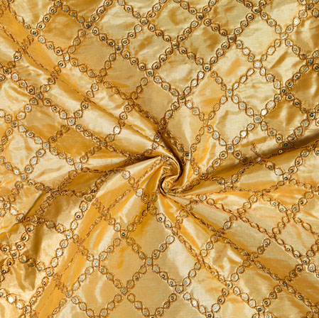 Beige Golden Embroidery Silk Paper Fabric-18505