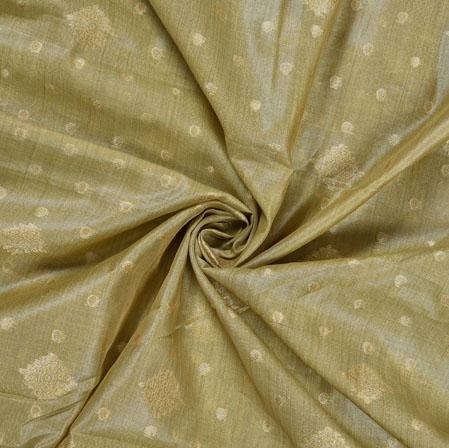 Beige Golden Polka Flower Burbari Jacquard Fabric-28306