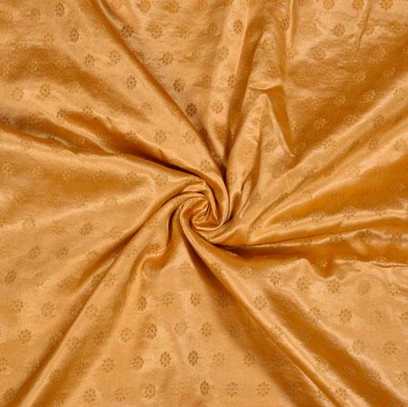 Beige Golden Polka Satin Brocade Silk Fabric-12686