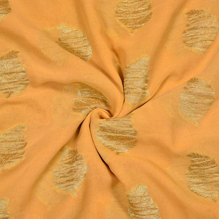 Beige Golden Tree Georgette Viscose Boota Fabric-41145