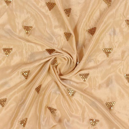 Beige Golden Zari Chinnon Embroidery Fabric-29274