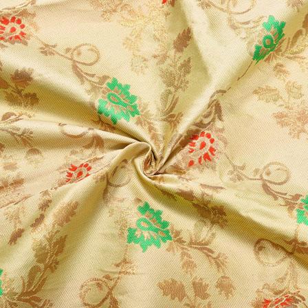 Beige Golden and Green Floral Brocade Silk Fabric-12407