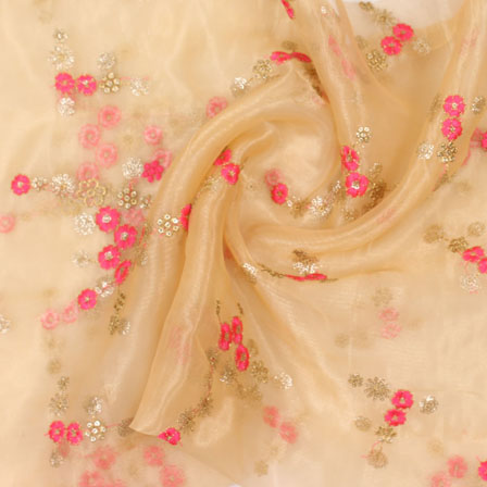 Beige Golden and Pink Embroidery Organza Silk Fabric-51605