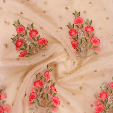 Beige Golden and Red Floral Embroidery Organza Silk Fabric-51699