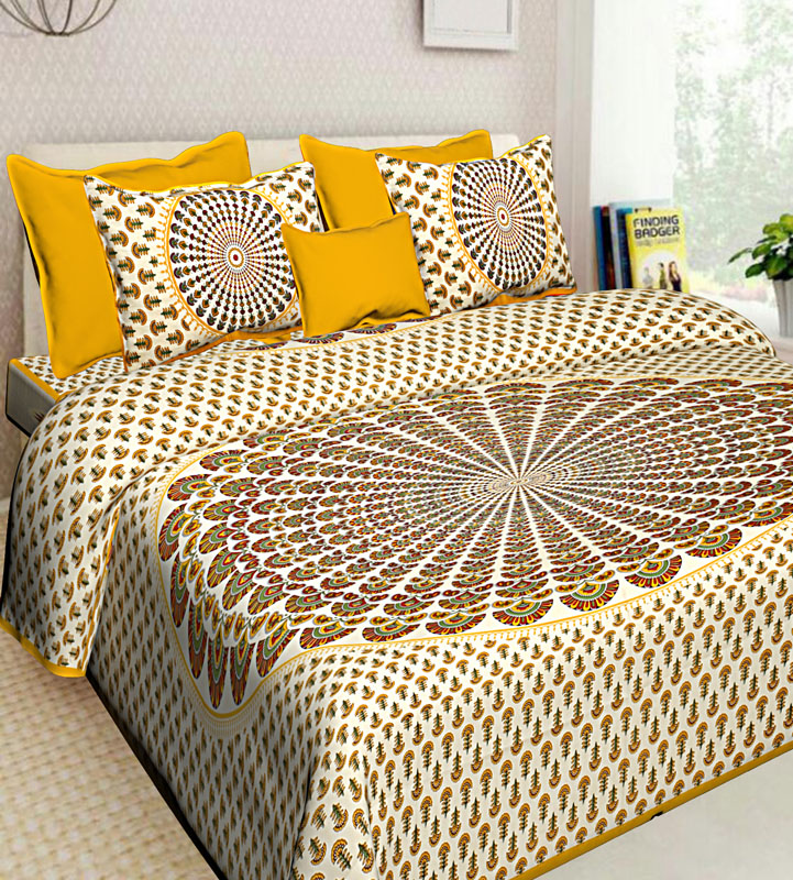 Beige Golden yellow Cotton Jaipuri Bedsheet-654