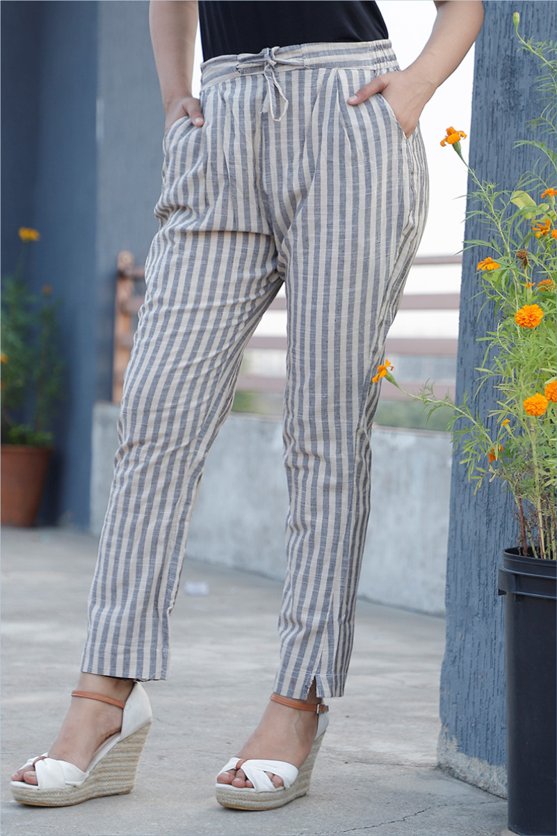 Beige Gray Cotton Stripe Pant with Belt-34048