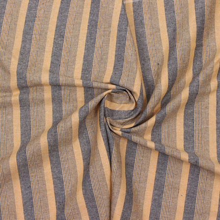 Beige Gray Striped Handloom Cotton Fabric-40771