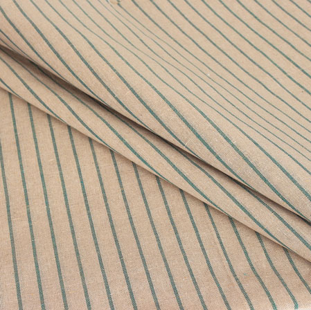 Beige Green Stripe Handloom Cotton Fabric-40962