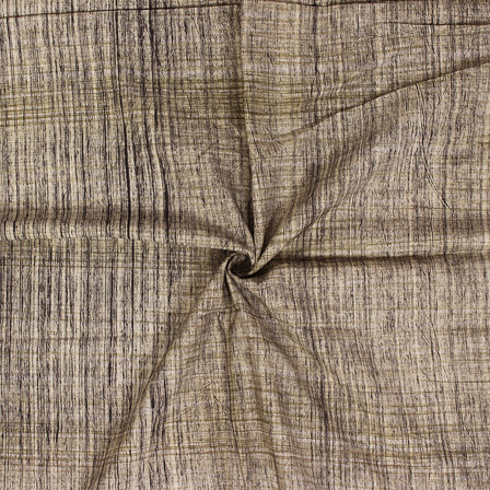 Beige-Green and Black Handloom Cotton Khadi Fabric-40120