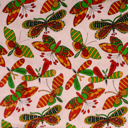 Beige-Green and Red Butterfly Shape Kalamkari Cotton Fabric-5543