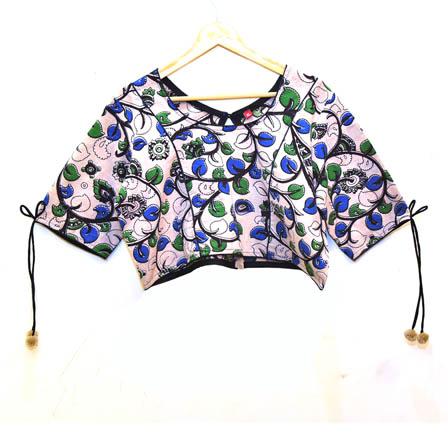 Beige-Green and Sky Blue Leaf Kalamkari Print Cotton Blouse-30029