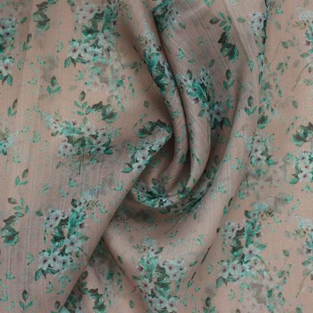 Beige Green and White Digital Organza Silk Fabric-51598