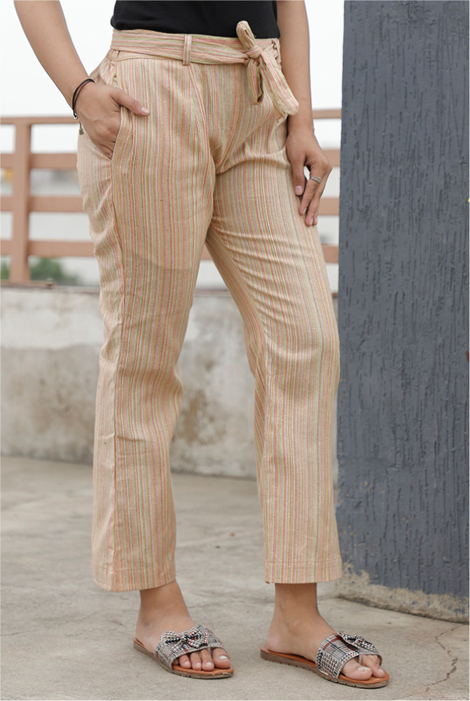Beige Handloom Cotton 2 Tone Narrow Pant with Belt-33892