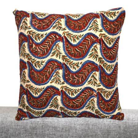 Beige Kalamkari Pattern Cotton Cushion Cover