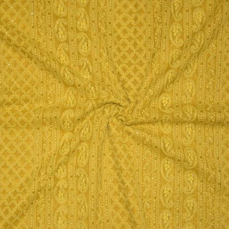 Beige Lakhanvi Chikan Work Georgette Embroidery Fabric-19367