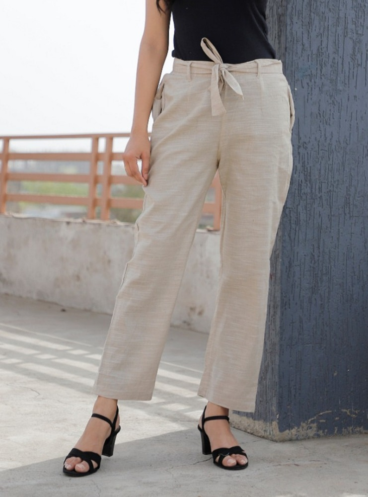 Beige Linen Slub Silk Women Pant with Loose Belt-33227