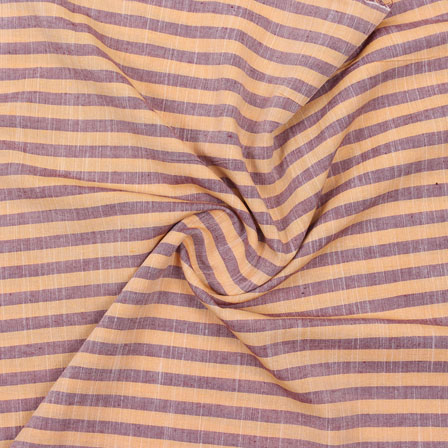 Beige Maroon Striped Handloom Cotton Fabric-40756