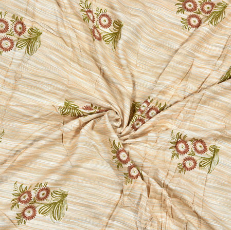 Beige Maroon and Green Floral Cotton Flex Fabric-28171