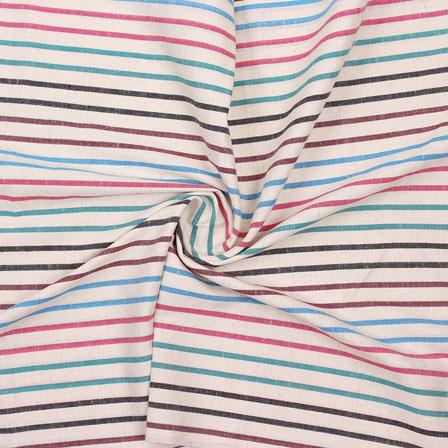 Beige Multicolor Striped Handloom Khadi Cotton Fabric-40760