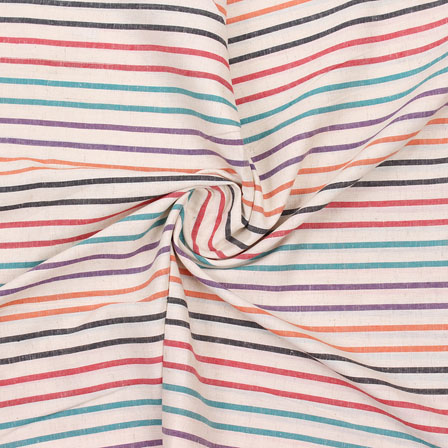 Beige Multicolor Striped Handloom Cotton Fabric-40761