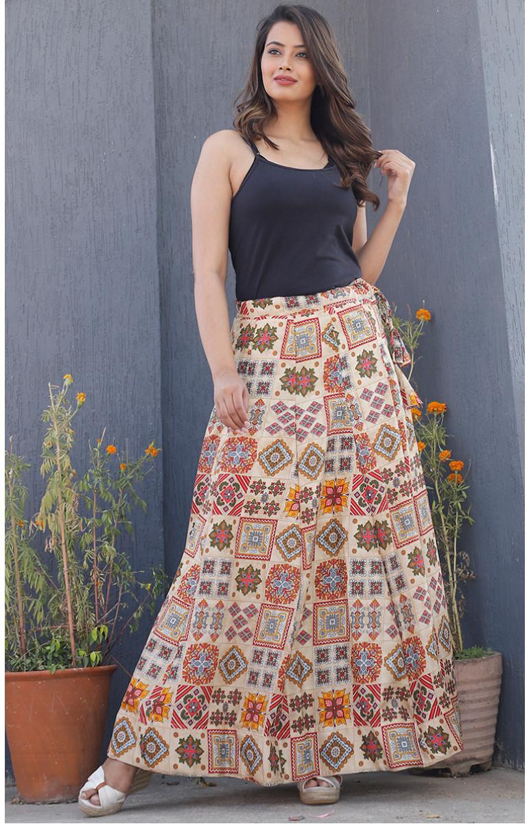Beige Multiolor Manipuri Silk Lehenga-34229-(Free Size)