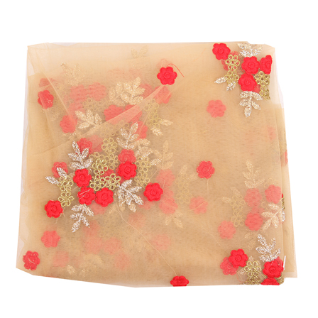 Beige Net Fabric With Golden and Red Flower Embroidery-60833