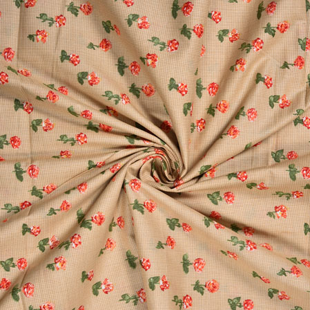 Beige Orange Checks Cotton Print Fabric-28365