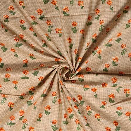 Beige Orange Flower Cotton Print Fabric-28367